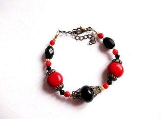 Bratara reglabila femei, coral rosu, onix negru si cristale 14534
