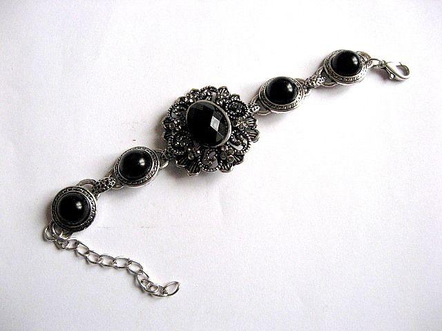 Bratara sticla culoare neagra si argint tibetan 26352