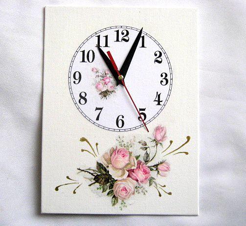 Buchet trandafiri roz, ceas de perete decorat manual pe suport de panza 27594