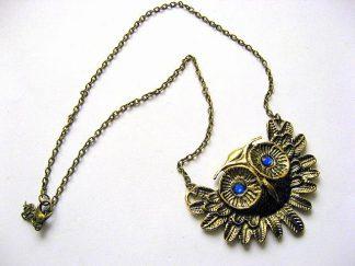 Bufnita cu ochii albastrii sticla, colier si pandantiv bronz