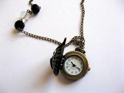 Ceas bronz cu capac cap de bufnita cu cristale 21114