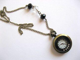 Ceas bronz sub forma de pandantiv, colier cu cristale 21112