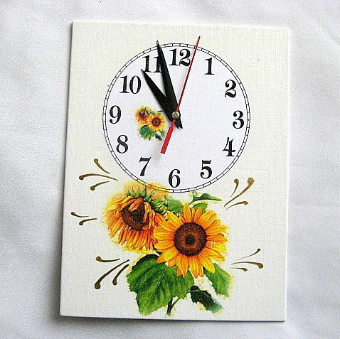 Ceas de perete cu floarea soarelui pe suport de panza cu hartie de orez 27593