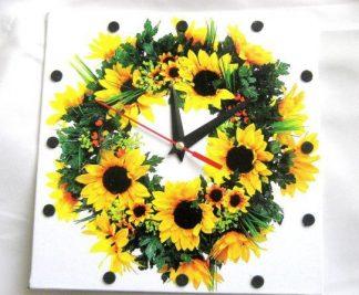 Ceas de perete cu flori de floarea soarelui 28472
