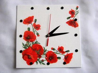 Ceas de perete cu maci, cu tehnica servetel si pictat cu acrilice 28099