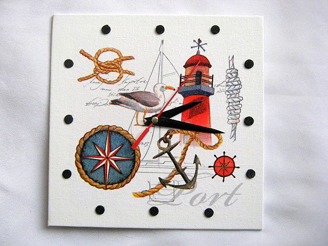 Ceas perete marinari, roza vanturilor, far, nod marinaresc, pescarus, ancora 27597