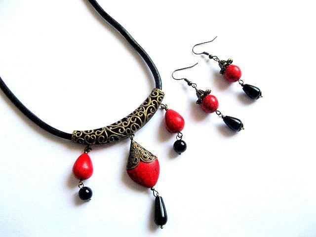 Colier si cercei onix si howlit, pietre semipretioase, bijuterie femei 28615