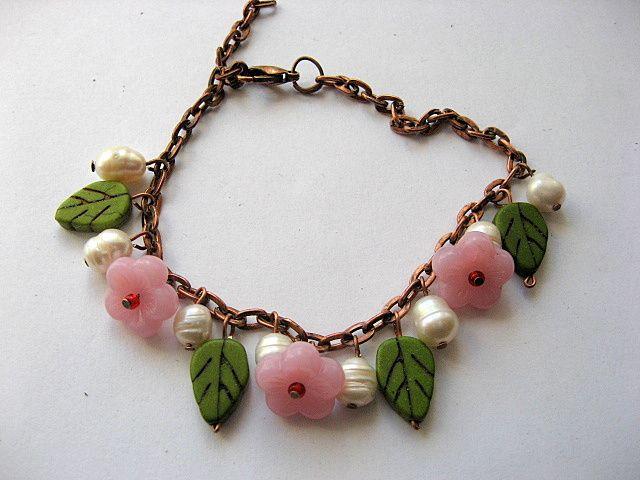 Culori verde, alb si roz, bratara femei, howlite, perle naturale, sticla 18790 poza a doua