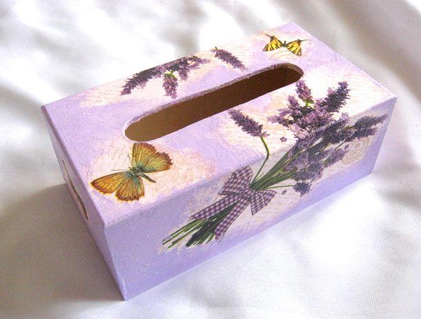 Cutie servetele hartie model de flori de lavanda si fluturi 26496