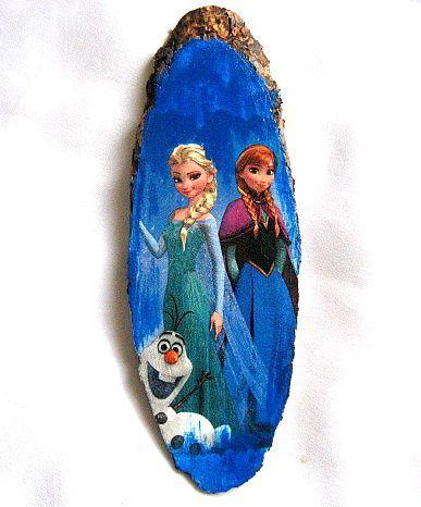 Desen animat Frozen, printesele Elsa si Anna, tablou trunchi de copac 28557