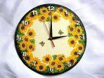 Design ceas de perete floarea soarelui, albine si fluturi galbeni 27620