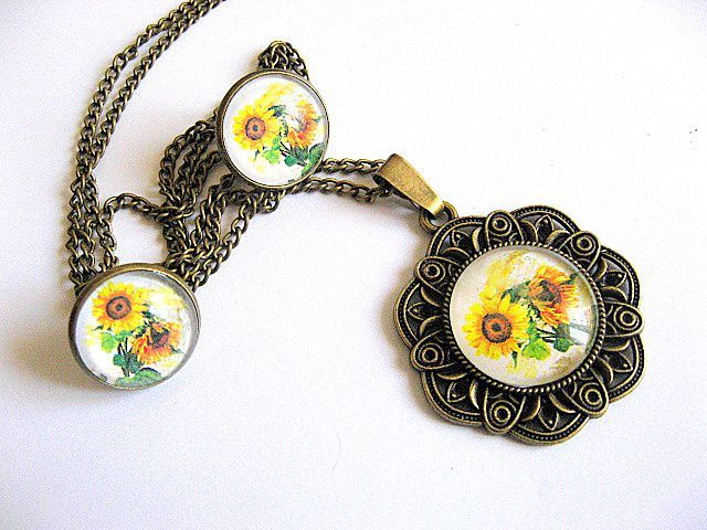 Floarea soarelui set bijuterii femei pandantiv si pereche cercei 28634