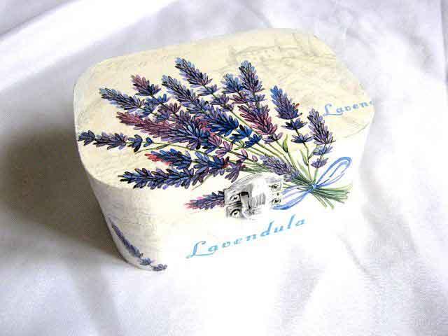 Flori de lavanda, cutie lemn accesorii bijuterii femei handmade 28733