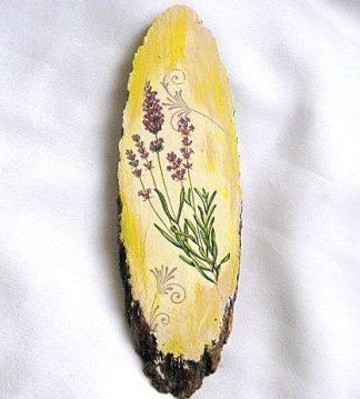 Flori de lavanda, model simplu pe trunchi de copac, tablou lemn 28559