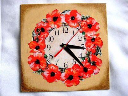 Flori de maci tehnica decoupage pictat cu vopsele acrilice, ceas de perete 27771