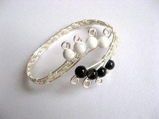 Howlite alb si onix negru, bratara pietre semipretioase femei 17298