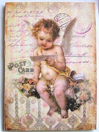 Ingeras citind o scrisoare, sub forma de carte postala, tablou lemn 23514