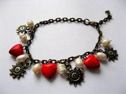 Inimioare howlite rosu perle naturale si accesorii bronz, bratara femei 18797