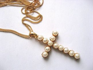 Lantisor metal si cruce din perle de sticla