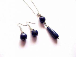Lapis lazuli set bijuterie cercei si pandantiv, culoare albastra 38920
