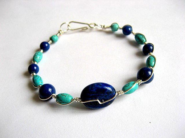 Lapis lazuli si turcoaz, albastru inchis si albastru deschis bratara 21889