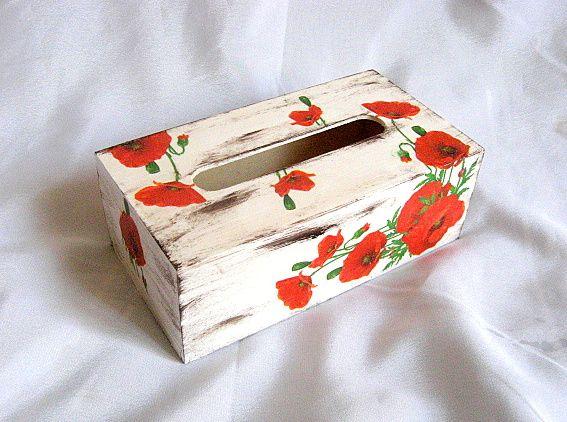 Maci rosii model flori pe fond vintage, cutii servetele hartie 27389 poza a 2a