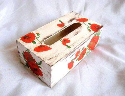 Maci rosii model flori pe fond vintage, cutii servetele hartie 27389 poza a 3a