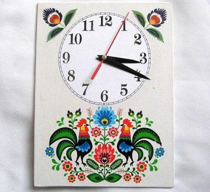 Motiv popular romanesc cu flori si cocosi, ceas de perete 27598