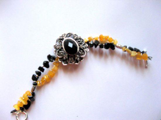 Ochi de pisica galben si onix negru, bratara femei pietre semipretioase 13948