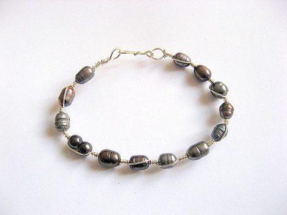 Perle naturale si sarma argintata nontarnish, bratara femei 27218