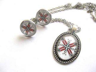 Set argintiu, colier si cercei, model traditional, culori rosu si negru 29850