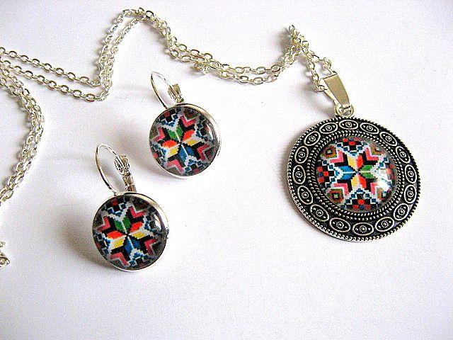 Set model popular romanesc, culori vii, bijuterii femei 28437