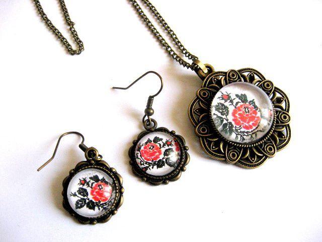 Set model traditional trandafiri, bijuterie femeie, pandantiv si cercei 28635.