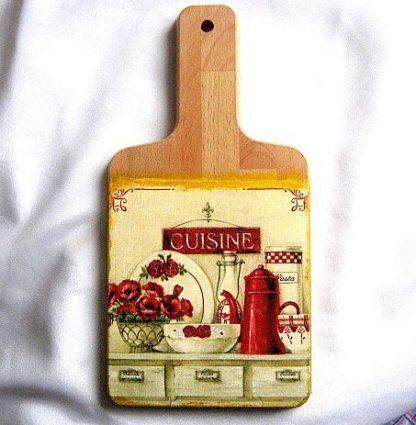 Tablou bucatarie, tablou lemn ustensile bucatarie si buchet maci 26325