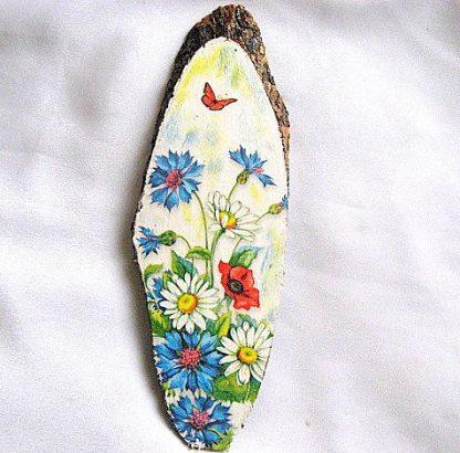Tablou flori culori vii mac, albastrele, flori de musetel si fluture 28554