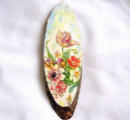 Tablou pe lemn model de flori campenesti, tablou de perete lucrat manual 28556