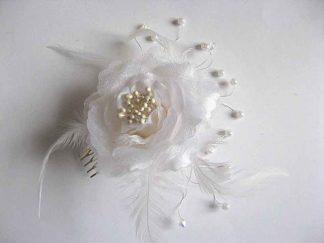 Accesoriu nunta, pieptan mireasa, perle artificiale si sarma argintata 23247