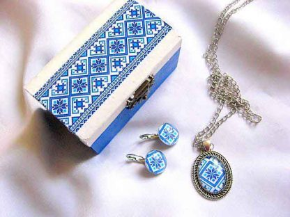 Culori albastru si albastru deschis bleu set motive traditionale 28688