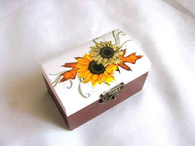 Cutie model floarea soarelui, cutie lemn femei accesorii si bijuterii 28661