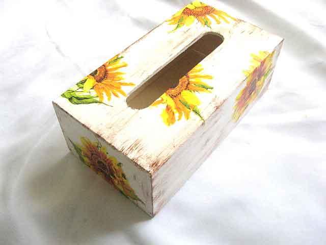 Cutie servetele hartie design floarea soarelui, cutii lemn poza a 2a 28474