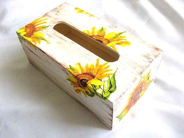 Cutie servetele hartie design floarea soarelui, cutii lemn 28474