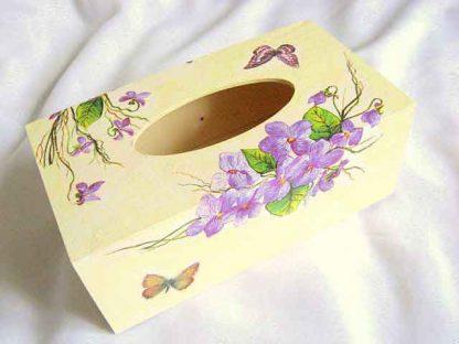 Cutie servetele model flori si fluturi, design pe lemn natur 28672