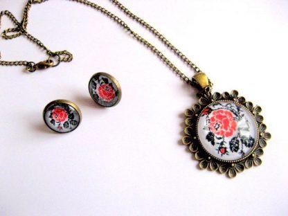 Model floral traditional set bijuterii femei, colier, pandantiv si cercei 28275