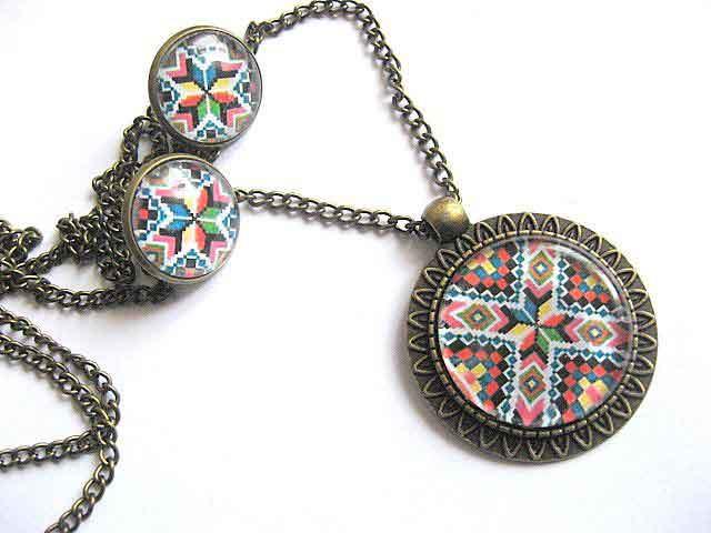 Motive traditionale bijuterie set, figuri geometrice si culori atragatoare 28697