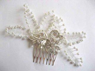 Pieptan flori strasuri si perle sticla, pieptan mireasa model 25498