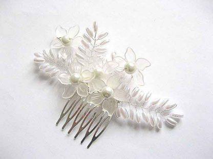 Pieptan mireasa perle sticla diferite marimi si sarma argintata