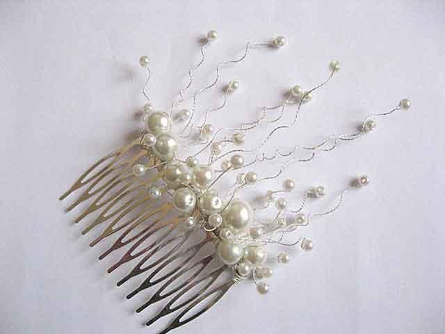Pieptan mireasa, pieptan par nunta cu perle sticla si sarma argintata 25008