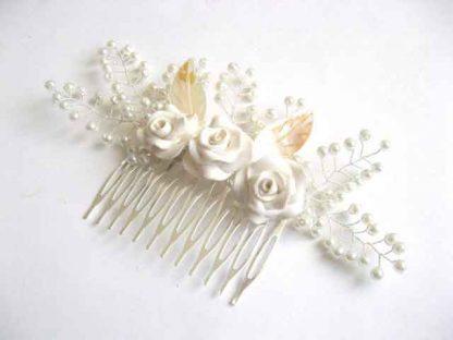 Pieptan nunta, pieptan perle sticla, flori fimo si frunze sidef 25561