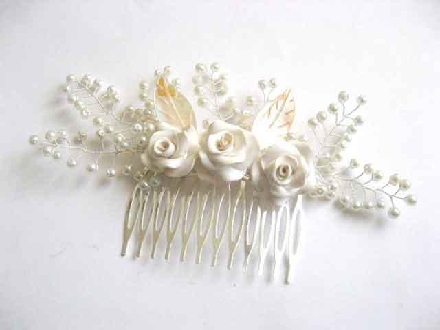 Pieptan nunta, pieptan perle sticla, flori fimo si frunze sidef 25561 poza a 2a
