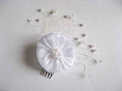 Pieptan perle artificiale si organza, pieptan mireasa model 23250